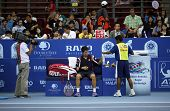 KUALA LUMPUR - SEP 28: Kei Nishikori (Japan) rests between games of his quarter-final match at the A