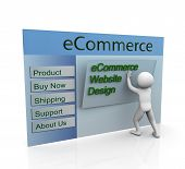 stock photo of ebusiness  - 3d man building secure ecommerce web site - JPG