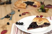 pic of aronia  - Slice of aronia pie and fresh berries - JPG