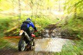foto of off_road  - Offroad motorbike crossing river water splashing - JPG