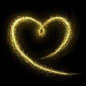 foto of gold-dust  - Heart of gold glittering star dust - JPG