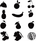 stock photo of fruits vegetables  - Set of 12 silhouettes of fruit - JPG