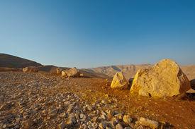 stock photo of samaria  - Big Stones in Sand Hills of Samaria Israel - JPG
