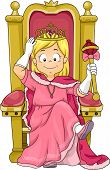 stock photo of throne  - Illustration of a Little Kid Girl Princess Sitting on her Throne - JPG