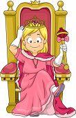 image of scepter  - Illustration of a Little Kid Girl Princess Sitting on her Throne - JPG