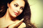 stock photo of hair blowing  - Beauty Girl portrait with long Hair - JPG