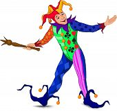 image of joker  - Jolly Joker who stands in a welcoming pose in a bright dress - JPG