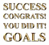 stock photo of congrats  - Gold success goals congrats you did it business text - JPG