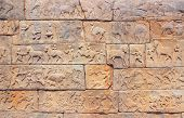 foto of vijayanagara  - Wall with a carved relief - JPG