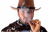 picture of gunslinger  - Gunman in the old wild west with studio lighting - JPG