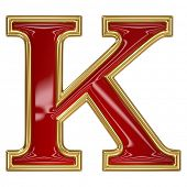 image of letter k  - Ruby red with golden outline alphabet letter symbol  - JPG