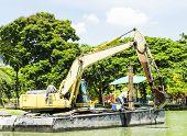 stock photo of dredge  - floating excavator  - JPG