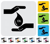Human Hands Conserving Crude Oil Concept- Simple Vector Graphic
