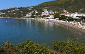stock photo of ammo  - Megali Ammos beach at Skiathos island in Greece