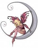 foto of faerie  - Fairy dressed in pink sitting on a silver moon - JPG