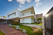 stock photo of driveway  - Big modern house - JPG