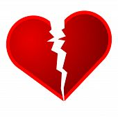 picture of broken heart  - An illustration of a broken heart on a white background - JPG