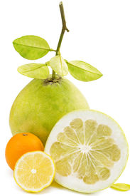 pic of pamelo  - Pomelo fruit with cut lemon and orange on white background - JPG