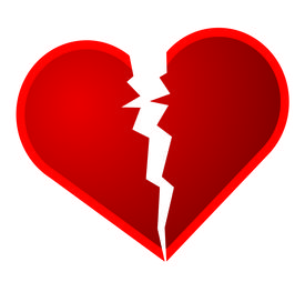 stock photo of broken heart  - An illustration of a broken heart on a white background - JPG