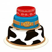 stock photo of sherif  - Cowboy cake for child birthday party with decoration - JPG