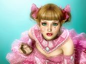 stock photo of lolita  - 3d computer graphics of a girl in a dress in Lolita style and fantasy make - JPG