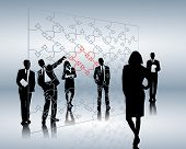 stock photo of person silhouette  - illustration of a presentation of business people - JPG