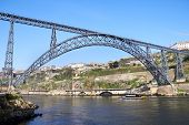 One Of The Several Bridges Over Douro River In Porto, Portugal
