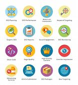 SEO & Internet Marketing Flat Icons Set 4 - Bubble Series