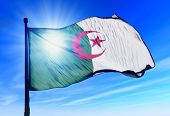 picture of algiers  - Algeria flag waving on the wind on the sky - JPG