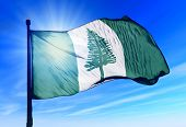 Norfolk Island flag waving on the wind