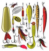 picture of trout fishing  - Vector illustration of artificial fishing baits on transparent background - JPG