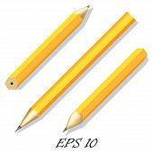 pic of foreshortening  - Three Simple Stationery Pencil In Different Angles - JPG