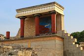 pic of minotaur  - Ancient stone ruins of Knossos palace Crete - JPG