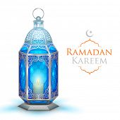 picture of eid ka chand mubarak  - illustration of illuminated lamp on Ramadan Kareem  - JPG
