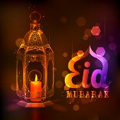 image of eid ka chand mubarak  - illustration of illuminated lamp on Eid Mubarak  - JPG