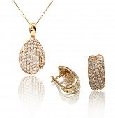 stock photo of glitz  - Best jewelry pendant and earrings set - JPG