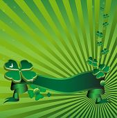 stock photo of fourleaf  - Abstract colorful illustration with green ribbon and green clovers - JPG