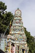 pic of durga  - Side view of Goddess Durga temple tower or Gopuram or Vimana