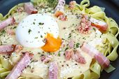 stock photo of carbonara  - Fresh Pasta Carbonara with ham and cheese - JPG