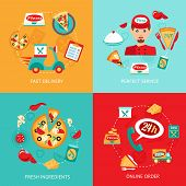 stock photo of hot fresh pizza  - Fast food pizza delivery perfect service fresh ingredients online order decorative icons set isolated vector illustration - JPG