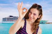 image of cruise ship caribbean  - beautiful woman in front of cruise ship - JPG