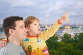 Father With Son On Historic Centre Of St.petersburg Background Collage poster