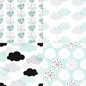 picture of pastel  - Seamless soft pastel clouds and flower blossom illustration background collection set pattern in vector - JPG
