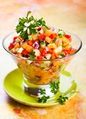 picture of melon  - Fresh melon salsa with red pepper and cucumber - JPG