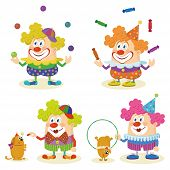 pic of circus clown  - Set of cheerful kind circus clowns in colorful clothes juggling balls and candies and training dogs - JPG