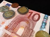 pic of depreciation  - Euro bank note and coins - JPG