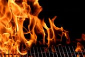 foto of grill  - bbq grill flame hot burning grill outdoors - JPG