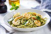foto of pesto sauce  - Spaghetti with prawn in homemade pesto sauce - JPG
