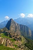 foto of world-famous  - Machu Picchu ruins in Peru are UNESCO World Heritage and one of the worlds most famous cult sites - JPG