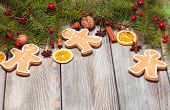 picture of hazelnut tree  - Gingerbreads and fir tree branches on the wooden table - JPG